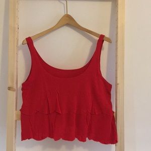 Scalloped Red Crop Top